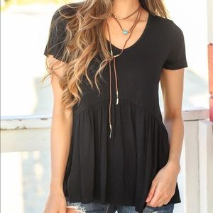 Black ruffle bottom tunic